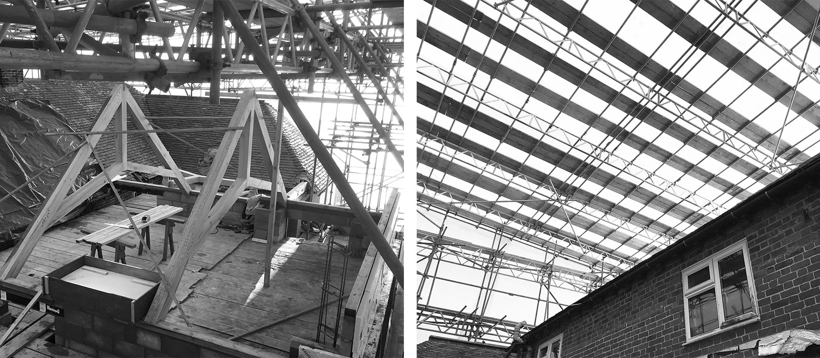 gyd architecture | oak trusses | temporary roof covering