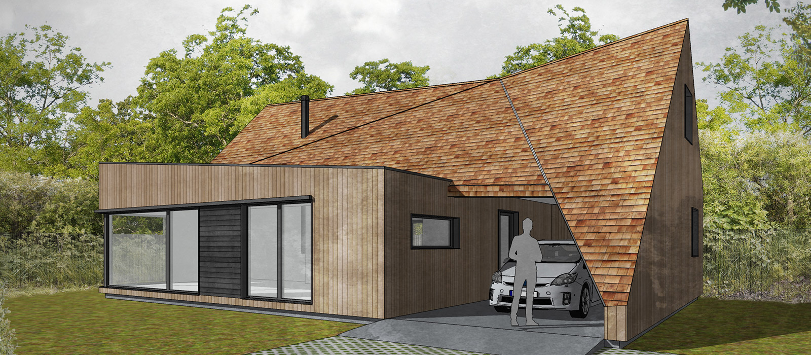 gyd architecture | 3D render of proposed timber framed house