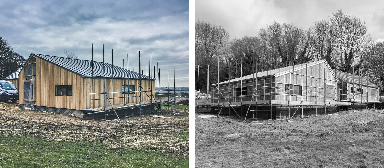 gyd architecture | new build house under construction before and after cladding