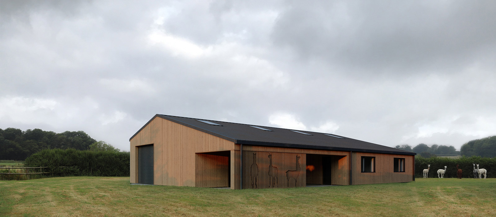 gyd-architecture | 3D render of agricultural barn front elevation