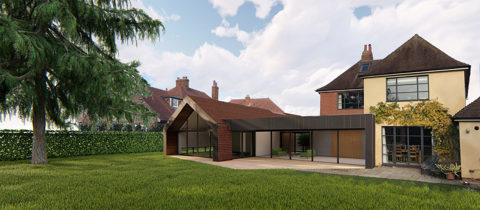 gyd-architecture   3D render of contemporary pool house and annexe