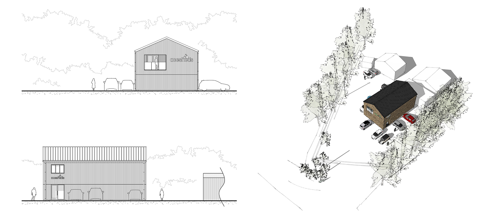 gyd architecture | barn conversion, office, site, elevations